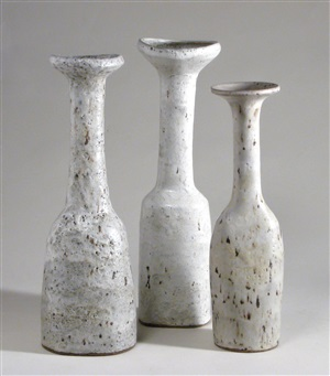 goosenecked vases by lucie rie