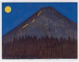 mt. fuji series: moon night mt. fuji by hideo hagiwara