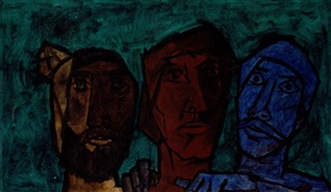 untitled (heads – green) by maqbool fida husain