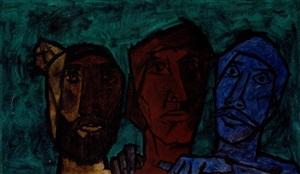 untitled (heads – green) by maqbool fida husain