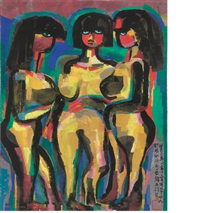three nude women by chen haiyan