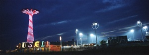 striped parachute jump, coney island-brooklyn, ny usa by ron meisel