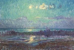 moon over ocean waves by ben fenske