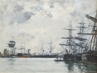 port de mer, un bassin, effet du matin by eugène boudin