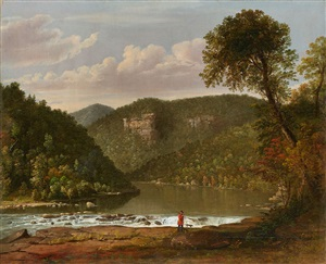 river landscape with hunter and dog by worthington whittredge
