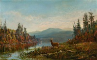 view on south pond near long lake, adirondacks by arthur fitzwilliam tait