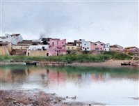 a village along a river in seville by emilio sanchez-perrier