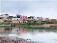 a village along a river in seville by emilio sanchez-perrier