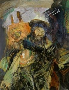 rabbi with torah i by hyman bloom