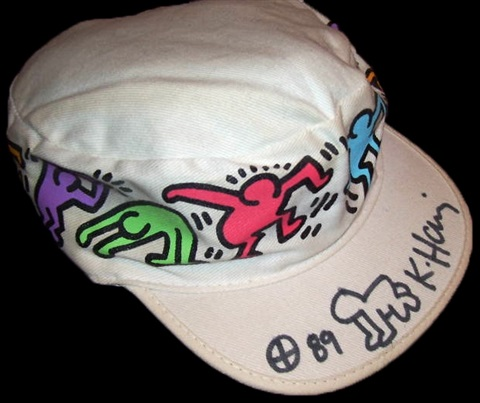 97dc3006ba3 Untitled Painters Cap with hand drawn Radiant Baby by Keith Haring ...