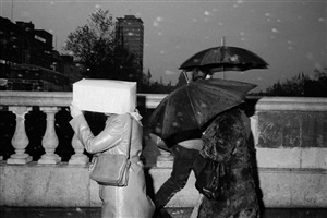 """ireland. dublin. o'connell bridge. from 'bad weather"""". october. 1981. by martin parr"""