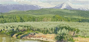 foothills at jackson, wyoming (jackson peak) by robert elmer lougheed