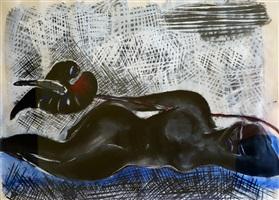 reclining nude by elvira bach