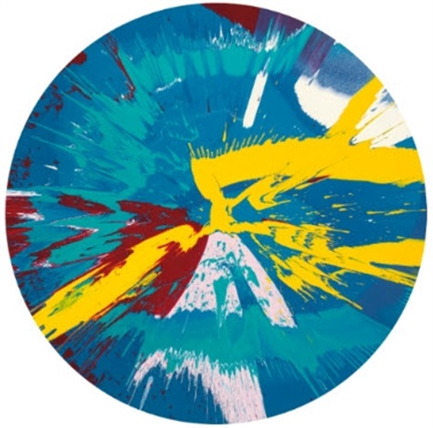beautiful, runny egg on a summers day nose bleed painting by damien hirst
