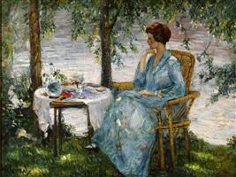 woman in a blue dress by edward cucuel