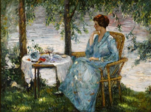woman in a blue dress by edward cucuel