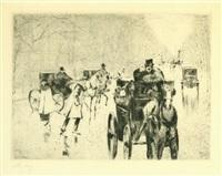 winterliche tiergartenallee mit pferdedroschken by lesser ury