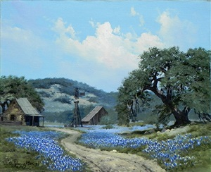 bluebonnet landscape with house and barn by william a. slaughter