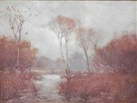 autumn color on the san antonio river by julian onderdonk