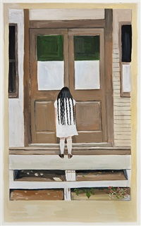 girl at door with very long hair by maira kalman