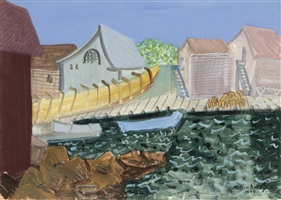 fishing harbor by milton avery