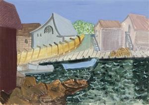 fishing harbor by milton avery