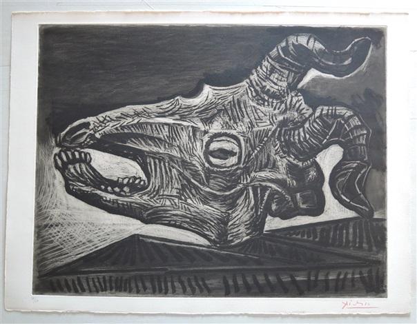 le crâne de chèvre sur la table by pablo picasso