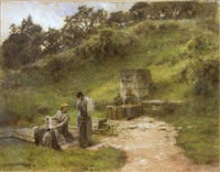 at the fountain, two laundresses by léon augustin l'hermitte