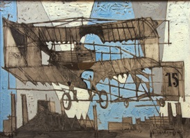 bi-plane over paris by claude venard