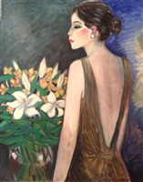 sacha with a bouquet by jean-pierre cassigneul