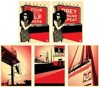 billboard set of 5 prints by shepard fairey