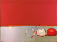still life with three tomatoes by raimonds staprans