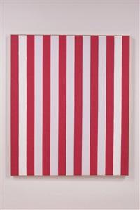 photo souvenir: peinture acrylique blanche sur tissu rayé blanc et rouge by daniel buren