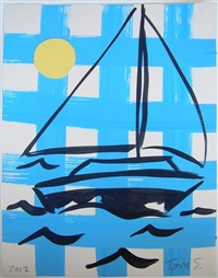 gingham sailboat by tom slaughter