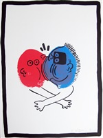story of red & blue #19 by keith haring