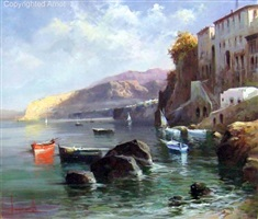 blue & red boats in the cove by claudio simonetti
