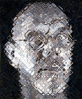 self portrait woodcut by chuck close