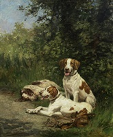 three hounds resting by a wooded path by olivier de penne