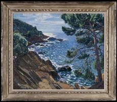 coastal landscape in the mediterranean by pierre gaston rigaud