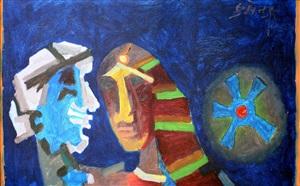 heads-blue by maqbool fida husain