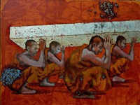 crouching monks by g.r. iranna