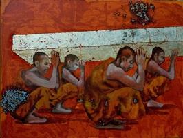 crouching monks by g.r. iranna
