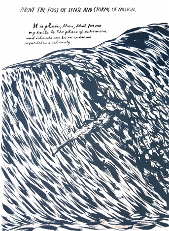 untitled (above the fogs...), from plots on loan i by raymond pettibon