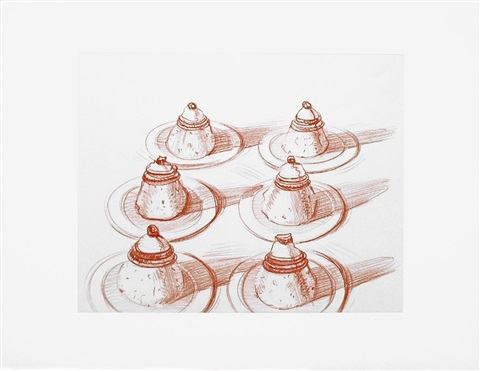 six desserts, from recent etchings ii by wayne thiebaud