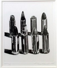 eight lipsticks (b&w) by wayne thiebaud