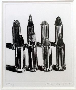 eight lipsticks (b&w) by wayne thiebaud
