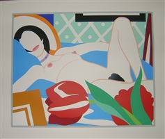 monica nude with tulips by tom wesselmann