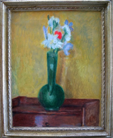 flowers in a green vase by vanessa bell
