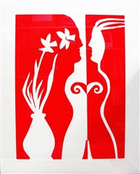 daffodil woman - red & white series by edwina sandys