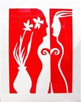 daffodil woman - red & white series by edwina sandys